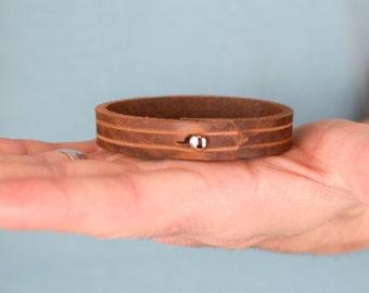 Genuine leather bracelet, brown leather bracelet, mens leather bracelet, mens bracelet, leather anniversary gift, leather bracelet
