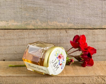 45mL Honey Jar with Custom Sticker Wedding Favour/Bombonniere. Completely Custom Favor. Rustic, all hand made.