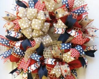 Patriotic Wreath, 4th of July Wreath, Burlap Patriotic Wreath, Americana Wreath, Memorial Day Wreath, July 4 decor, Memorial Day Decor