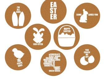Easter Cork Circles, Clip Art Set of 8