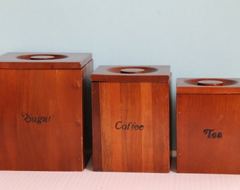 Hellerware Wooden Canister Set of Three