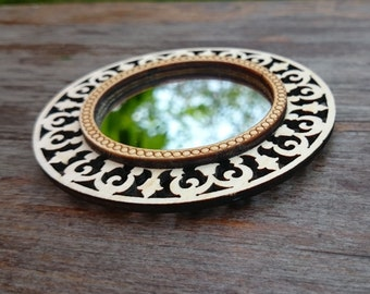 wooden carved mirror, makeup mirror, wedding gift, cosmetic mirror, gift for wife, compact mirror favors, sister gift, gift for her