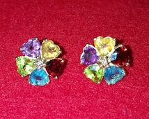 Vintage multi colored gem stone earings 14k