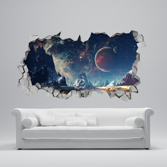 Space broken wall decal 3d wallpaper 3d wall decals 3d for Bedroom 3d wall stickers