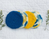 Crocheted Cotton Scrubbies, Blue and Yellow Facial Scrubbies, Eco-friendly Four Piece Set, Baby Washcloths, Double-thick Coasters