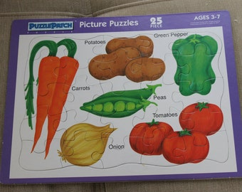 Puzzle Patch Picture Puzzle, Frame Tray Puzzle, All Pieces Included, Basic Foods, Children Pretend Play, Learning Puzzle, Ages 3 & Up NICE