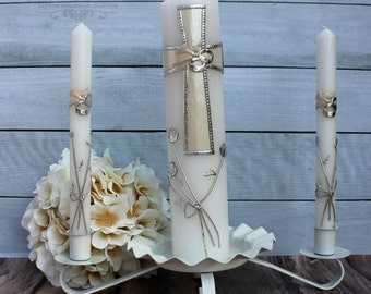 Wedding Unity Candle Set with or without the Candle Holder