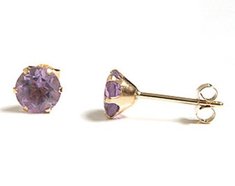 Solid 9ct Gold 5mm Round Amethyst Stud earrings S886