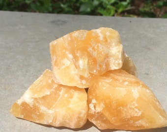 Yellow calcite, 4 big calcite pieces, calcites, calcite crystal