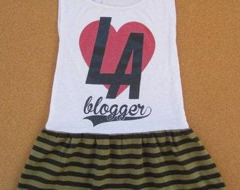 Girls LA Blogger Dress, size 4, size 5, girls outfit kids clothing girls dress upcycled dress handmade dress t-shirt dress one of a kind