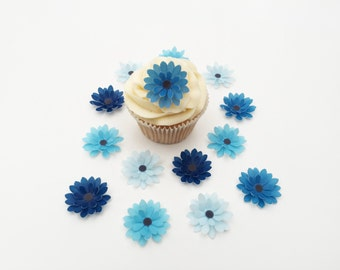 14 Edible Shades of Blue 3D Wafer Flowers Cupcake Toppers Precut