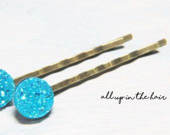 Sky Blue  Druzy Bobby Pins - Sky Blue Druzy Hair Pins - Blue Bobby Pins
