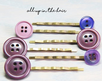 Purple Bobby Pins - Button Bobby Pins -Unique Bobby Pins - Bobby Pin Set