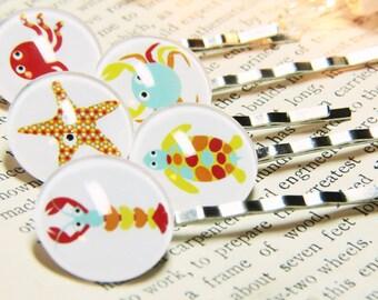 Octopus Bobby Pins - Crab Bobby Pins - Lobster Bobby Pins - Turtle Bobby Pins - Starfish Bobby Pins - Sea Star Bobby Pins