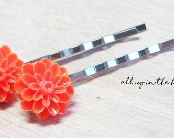 Orange Flower Bobby Pins - Dahlia Bobby Pins - Orange Bobby Pins