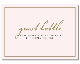 INSTANT DOWNLOAD - Printable Guest Bottle Sign - 5x7 - Pink & Gold - Champagne Bridal Shower