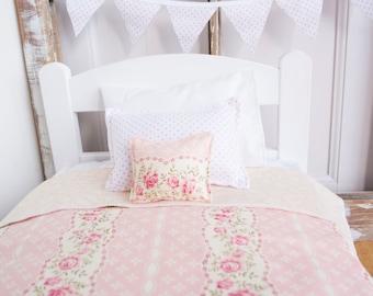 "Shabby chic Doll bedding, 18"" doll bed bedding, Light pink doll blanket, doll bed bedding, doll pillow, doll rug, Easter girls gift"