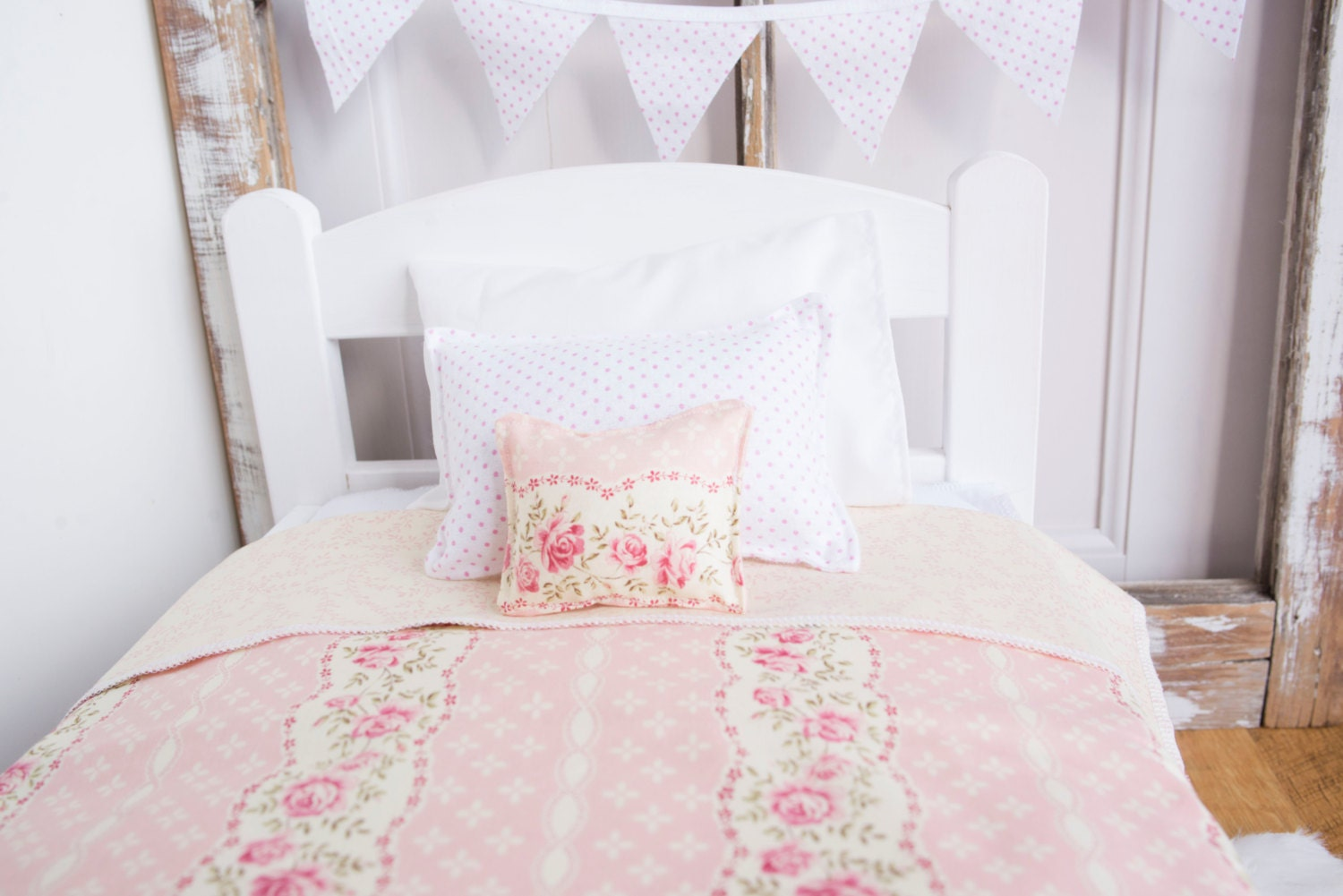 Shabby Chic Doll Bedding 18 Doll Bed Bedding Light