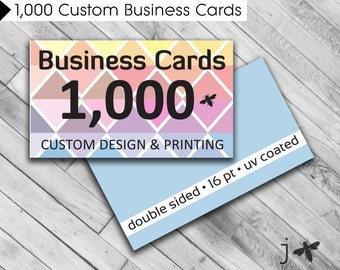 "1,000 Custom Business Cards - Custom Design and Printing - 3.5"" x 2"" UV Coated or Matte Finish"