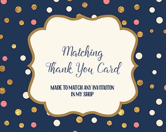 Thank You Card made to match any invitation in my shop, Printable Favor Tags, Digital JPEG PDF