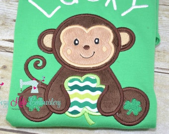 St. Patrick's Day Shirt, Saint Patrick's Day Shirt, St. Patty shirt, Saint Patty shirt, Monkey shirt, Shamrock, boy, girl, baby, applique