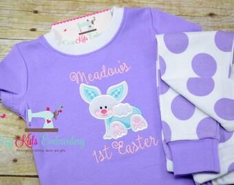 First Easter pajamas, bunny pajamas, girls pajamas, girls pj, boy pj, spring pj, spring pajama, pj, girls pajamas, girls pj, appliqué