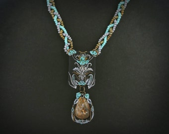 Floral ornament necklace - hand sculpted, polymer clay, quartz, beads