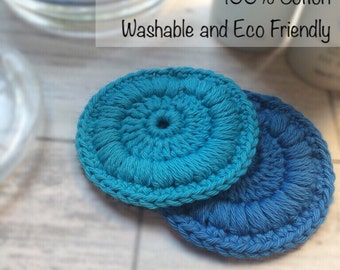Crocheted Face Scrubbies - 100% Cotton - Reusable and Eco Friendly Face Cloths - Make-up Remover Wipes
