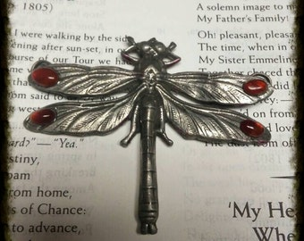 Beautifully detailed art nouveau style pewter dragonfly pendant with carnelian accents