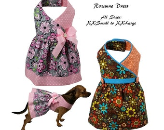 Roxanne Dog Dress, Dog Dress Sewing Pattern, Dog Clothes Sewing Pattern pdf Tutorial -ALL SIZES- xxsmall to xxlarge