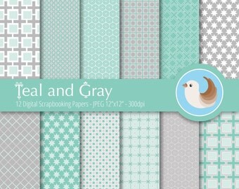 Teal and Gray Digital Paper - Turquoise Digital Paper - Mint and Gray - Set of 12 Digital Scrapbooking Papers