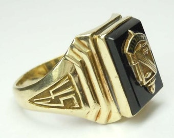 Art Deco 10Kt Gold 1945 Lafayette High School Class Ring size 6.5