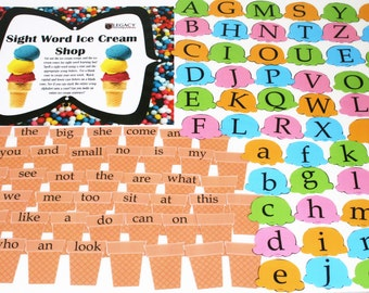 Summer Fun activity, Summer Learning Kit, Make Believe Ice Cream Shop, Sight Words Learning Game, Learning By Matching, Ice Cream Activity