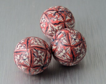 Red, Blue, and Cream Polymer Clay Beads - Multicolored Ikat Beads - Round Polymer Clay Beads - Set of 3