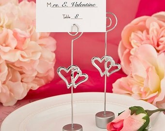 Double Hearts Place Card Holders (Pack of 25) Wedding Reception Supplies