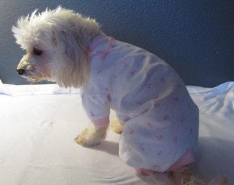 New White with Mini Pink Posy Flannel Pajamas PJ's Dog Puppy Pet Clothes XXS