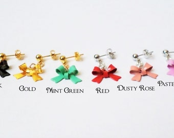 Cute Colorful Bow Earrings - Choice of Gold or Silver Plated Findings