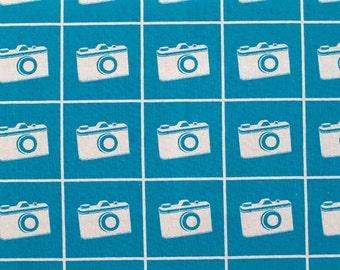 Cameras Teal Echino Ni-Co  By Etsuko Furuya for Kokka Fat Quarter OOP HTF Cotton Linen Blend