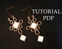 Wire Wrap Earrings Tutorial, PFD Lessons, Jewelry Tutorial, Instruction, Wrapped Tutorial, Wire Jewelry Tutorial, PDF Tutorial, DIY Jewelry