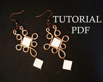 Wire Wrap Earrings Tutorial, PFD Lessons, Jewelry Tutorial, Instruction, Wrapped Tutorial, Wire Jewelry Tutorial, PDF Tutorial, DIY Jewelry
