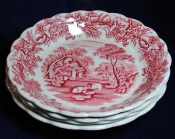 1910 Booths British Scenery A 8024 pattern red transferware wide soup bowls
