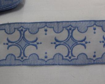Vintage French Blue & White Cotton Braid/Trim. Per metre.