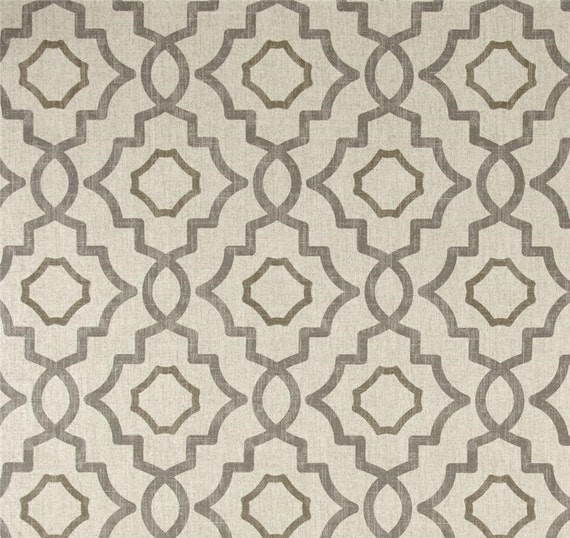 Fabric Shower Curtain Talbot Metal Grey Beige Cream By HomeandHome