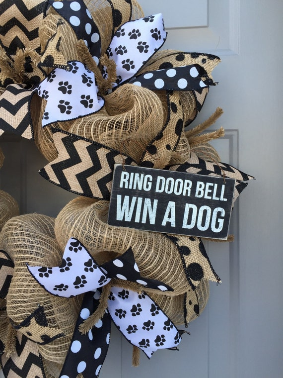 Ring Doorbell Win a Dog Black and Brown Burlap by