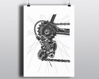 Bicycle Art Print, Bike Art Print, Vintage Campagnolo : Campagnolo Nuovo Record Rear Derailleur