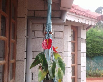 Free shipping Blue Hand dyed large Macrame Natural plant hanger / hanging rope planter,garden decor / indoor/outdoor,retro style pot holder.