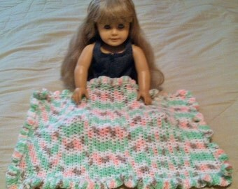 "American Girl Afghan (any 16"" or 18"" doll) Blanket ~ Citrus Sorbet ~ Hand Crocheted ~ Best Selling Item"