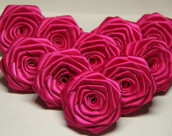 10 Handmade Red Satin Ribbon Roses In Fuchsia (2 inches). Ready To Ship.