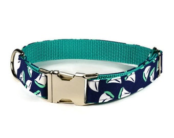 Sailboat Dog Collar, Preppy Dog Collar, Nautical Dog Collar, Navy Dog Collar, Male Dog Collar, Nautical Bow Tie Collar, Metal Buckle