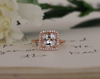 White Topaz Engagement Ring with White Topaz Cushion 9mm and Diamond Halo in 14k Rose Gold